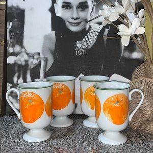 Vintage Footed Orange Juice Glasses Mugs Kitchy